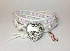 Breast Cancer Awareness Double Wrap Bracelet w/ by DesignsByJen1,