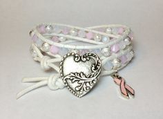 Breast Cancer Awareness Double Wrap Bracelet w/ by DesignsByJen1,