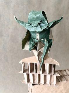 Origami Jedi Master Yoda Designed by Origami Yoda, Money Origami, 3d Origami, Origami Paper, Origami Folding, Modular Origami, Paper Folding, Diy Fan, Starwars
