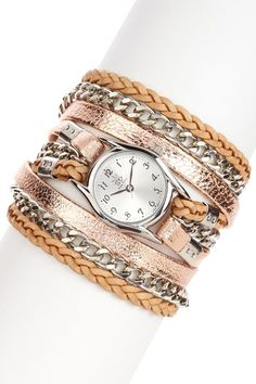 Printed Leather & Chain Watch