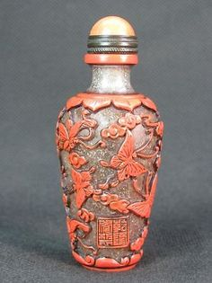 Chinese Butterfly Carved Peking Overlay Glass Snuff Bottle