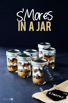 S'mores in a Jar - perfect for camping or even at home in the oven. So cute as a gift too. #smores #camping