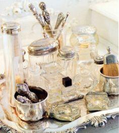 The Dressing Table - repurposed vintage silver - via Vignette Design Boudoir, Dressing Table Vanity, Dressing Tables, Vanity Tables, Dressing Rooms, Silver Vanity, Silver Dresser, Vignette Design, Vanity Set