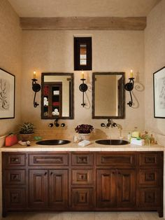 ****This Cabinet Style, Slightly Lighter This Mediterranean Master Bathroom  Features Dual Vanity Sinks, Neutral Tiles And Rich Woods.