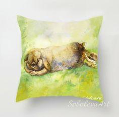 Bunny Pillow Throw Pillow Bunny Rabbit Pillow Cushion Cover Bunny Watercolor Decorative Pillow Bunny Baby Custom Pet Portrait Brown Green by SobolevaArt on Etsy