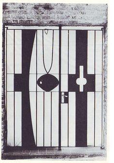 1975, Dumas Oroño (Tacuarembó, Uruguay 1921-2005): Portón  de hierro en residencia particular, calle Mississipi 1522 barrio Malvín, Montevideo, Uruguay.