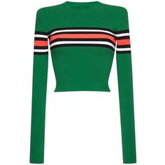MSGM     Cropped Stripe Knit Top ($445) ❤ liked on Polyvore featuring tops, green, green top, striped top, stripe crop top, white top and white crop top