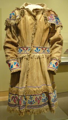 Man's coat, c. 1840  Delaware or Shawnee  Hide, glass beads, cotton thread, iron, cotton fabric
