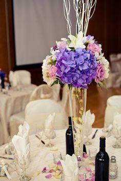 #purple #wedding #centerpiece @Sarah Chintomby Meloshinsky