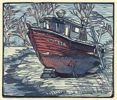 Lobster Boat Amelia multicolor reduction woodcut by chickfamilyink. , via Etsy.
