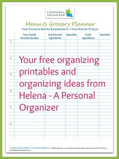 Free Organizing Printables to get you all organized!