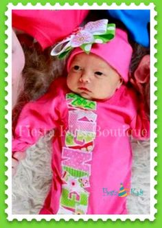Newborn girl outfit, bodysuit and beanie hat with bow, pink and green layette on Etsy, $39.50