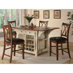 Distressed Cherry Chairs and Storage...perfection  sc 1 st  Pinterest & A storage kitchen island and dining table in one with a beautiful ...