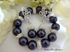 Swarovski Crystal Dark Purple Pearl Bracelet by DebraAnnCreations.etsy.com Copyright