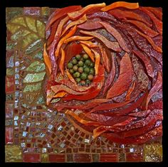 """DarbyDarby 4.75"""" x 4.75"""" x 1"""" This is my take on the David Austin rose, 'Abraham Darby'...a favorite. The petals are stacked stained glass, field and borders are stained glass and iridescent vitreous tiles and the rose center is stacked Unakite stone.   Darby has been blogged by Mosaic Artist Irit Levy"""