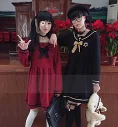 """Japanese harajuku custom sailor navy cross embroidery dress   Color: wine red, black,  Length:78 cm/30.42"""". Bust:92 cm/35.88"""". Shoulder width:39 cm/15.21"""".  Fabric material: cotton.  Tips: *Please double check above size and consider your measurements before ordering, thank you ^_^  m..."""