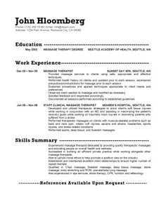 Massage Practitioner Sample Resume Occupational Therapist Resume, 42 Best  Ot Resume Images On .  Physical Therapy Resume Sample