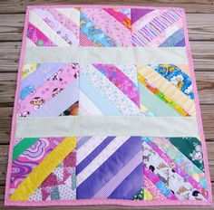 Strip quilt from scraps.