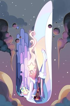 Work by frogbians - A particularly good example, the way every part of this figure reacts to gravity and being pulled draws our eye down and makes it seem as though she's truly moving. Even her tears trail upward and away. Cartoon Kunst, Anime Kunst, Cartoon Art, Anime Art, Cartoon Characters, Kunst Inspo, Art Inspo, Fantasy Kunst, Fantasy Art