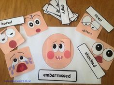 Item 76 - Emotion face and cards - Elsa Support Emotions Cards, Feelings And Emotions, Social Emotional Activities, Class Activities, Emotion Faces, Emotional Child, Bible Lessons For Kids, My Themes, Projects For Kids