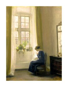 A Girl Sewing In An Interior Carl Holsoe