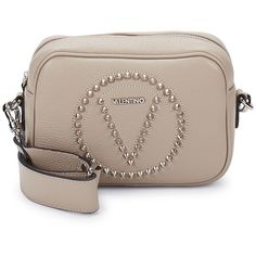 Valentino by Mario Valentino Women's Mia Rock Dol Studded Leather... ($300) ❤ liked on Polyvore featuring bags, handbags, shoulder bags, no color, crossbody shoulder bag, brown crossbody purse, mario valentino crossbody, brown cross body purse and studded shoulder bag
