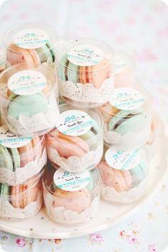 Pastel orange and aqua macaron wedding favors