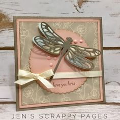 Jen's Scrappy Pages: Detailed Dragonfly Card - Mojo Monday