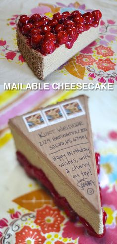 This would make a GREAT INVITATION to a PIE-TASTING or a DESSERT PARTY!  LOVE THIS LINK!!!!  Cherry Cheesefake - a face slice of mailable cheesecake.