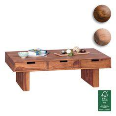 FineBuy Couchtisch Massivholz Design Wohnzimmer Tisch 110 X 60 Cm 3  Schubladen Landhaus Stil
