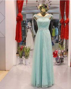 Långa avsnitt av brudens klänning V-ringad klänning 2014 nya mode spets aftonklänning