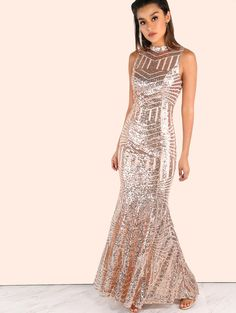 Sequin Open Back Maxi Dress BLUSH | MakeMeChic.COM Mobile Site