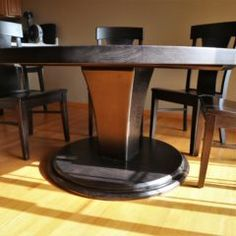 Our Meredith base: sleek and modern. It has a tapered square design making it stand out between this round ash top and floor base! 60 Inch Round Table, Round Tables, Dining Tables, Custom Furniture, Woodworking, Flooring, Rustic, Table Designs, Modern