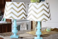 """DIY"" chevron lampshades... instructions: buy a chevron lampshade... put it on a lamp based that you've spray painted. kind of a let down"