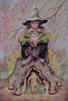 'Joanna Byrd' of Wildwood-coven wearing the colours of season Snow-Thaw. Joanna sits watch over the mandrake shrine. Witches write questions on rags and tie them to surrounding branches hoping for an answer from the mandrake.