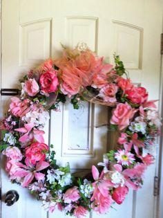 Silk floral door wreath by Cottagewreaths on Etsy, $119.00