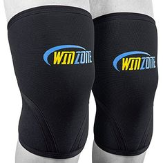 Knee Sleeve Brace Compression Sleeves Pair 7mm Neoprene Basketball Weightlifting Crossfit Arthritis Running Squats Powerlifting Support wo Restricting Movement by Winzone ** More info could be found at the image url. Note: It's an affiliate link to Amazon