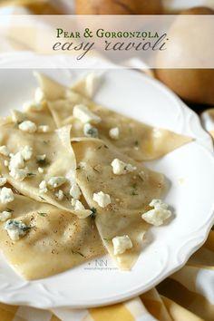 Pear Gorgonzola Easy Ravioli from NutmegNanny #loveNZfruit #ad