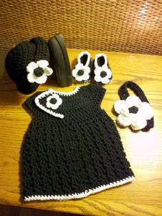 This is the cutest thing ever!!! Crocheted Infant Newborn Baby Girl Set every girl needs a little black dress