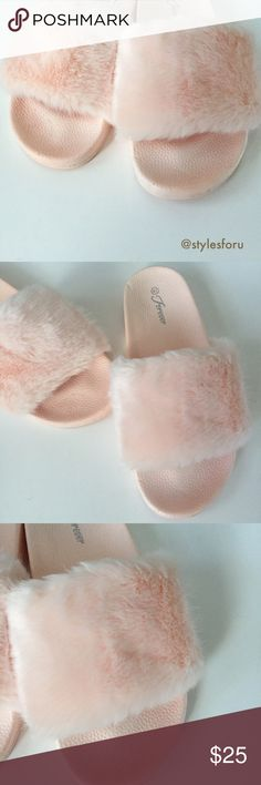 """NWT. Pink fuzzy slippers NWT. Pink fuzzy slippers. Super soft material and comfortable. Non slip bottom. About 1"""" platform. True to size. Sorry, no trades. Forever Shoes Slippers"""