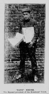 """""""Dave"""" Simons, the original leader of the newsies' strike. From the New York Tribune illustrated supplement, July 30, 1899."""
