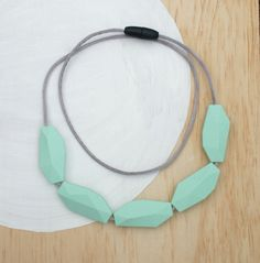 Silicone Teething Necklace  Faceted Bead  Mint  by BEBEandMEbeads