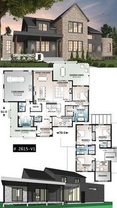 3175 sq.ft. modern rustic farmhouse plan, 4 bedrooms, 3.5 baths, ensuite, large terrace, huge pantry, fireplace in the living room. Second level offers a library open on the entrance. Amazing glassed wine cellar under the stairs. Stunning master bedroom with remarkable master bath. Dining room as sun room. Buit-ins at the foyer.