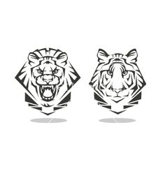 Tiger and lion vector