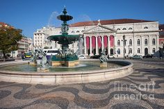 Baroque fountain and Dona Maria II National Theater on Rossio Square in Lisbon, Portugal. #lisbon #lisboa #portugal #rossio #rossiosquare #baroque #baroquefountain #fountain #square #theater #theatre #donamariaii #nationaltheater #portuguese #city #landmark #historic #fineartprints