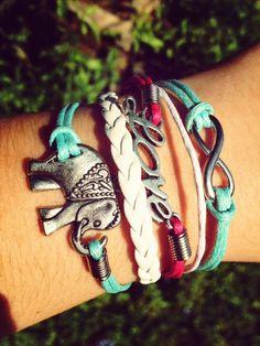 Elephant Love Infinity Bracelet, Multi Wrap Bracelet, Wax Cord Bracelet, Boho Hippie Jewlery