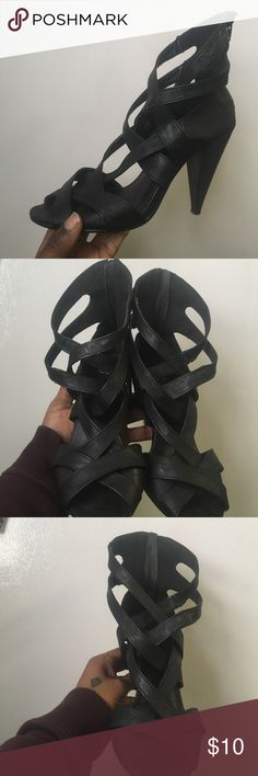 Black Gladiator style heel Black sandal lightly worn. Comfy Shoes Heels