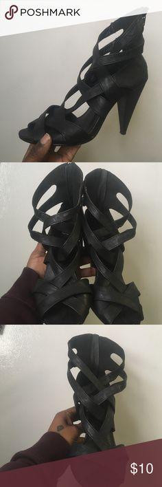 Black Gladiator style heel Black sandal lightly worn. Comfy Shoes Heels
