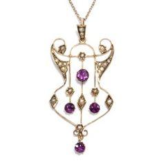 Traumhaftes Jugendstil Collier um 1905: Amethyst & Gold Anhänger Kette Edwardian