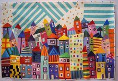 """""""My Town"""" par/by Sakuko Sumita. Très belle courtepointe présentée au 2015 Tokyo International Quilt Show."""